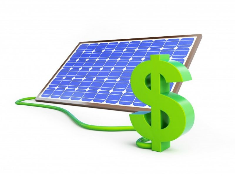 solar panel with dollar sign